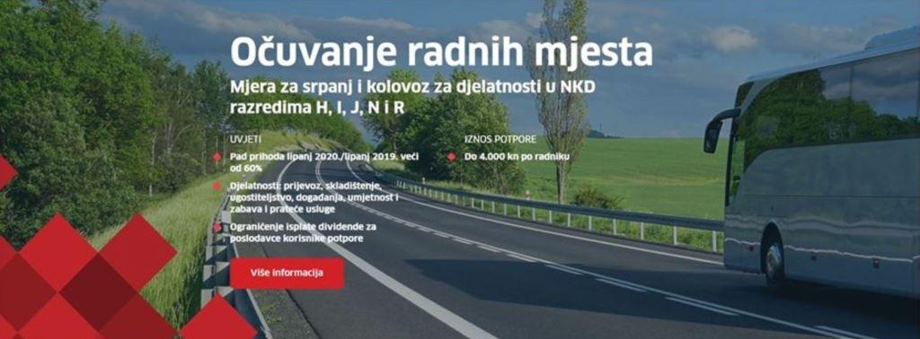 POTPORA ZA OČUVANJE RADNIH MJESTA - SRPANJ-KOLOVOZ 2020.