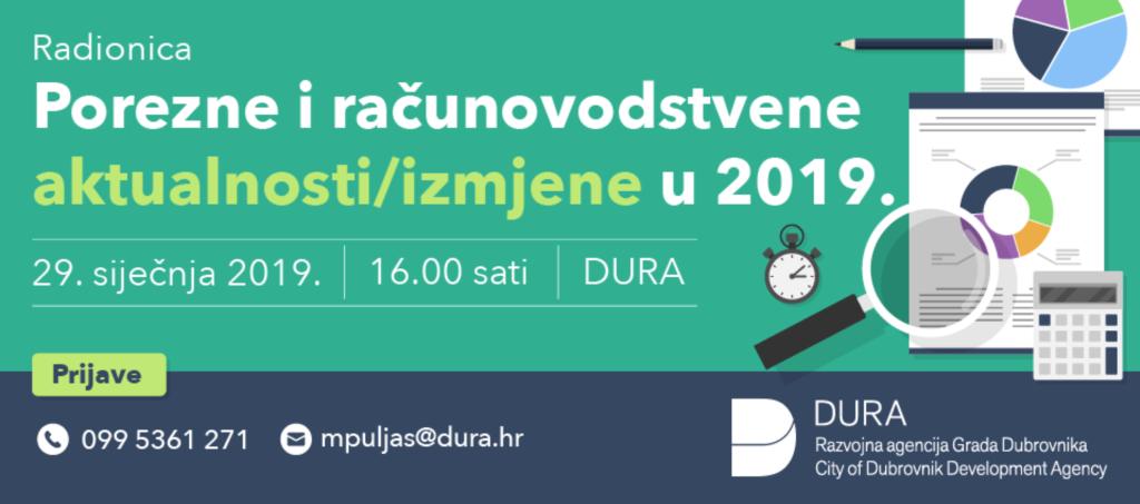 """PREDAVANJE """"POREZNE I RAČUNOVODSTVENE AKTUALNOSTI U 2019. GODINI"""""""